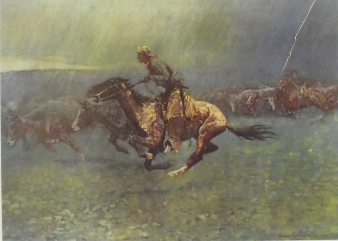 Framed Remington Print, ''Stampeded by Lightning'' - 2