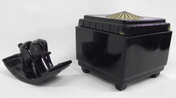 Vintage Black Amethyst  Glass Ink Blotter &  Lidded Box