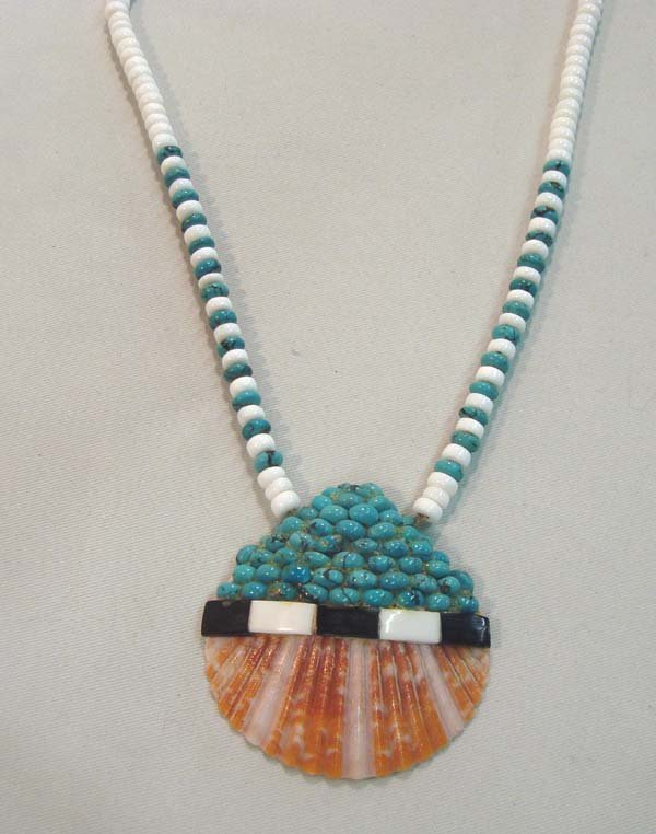 Native American Santo Domingo Inlay Red  Shell Necklace