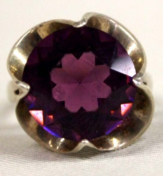 Mexican Handcrafted  Sterling  Amethyst Stone Ring