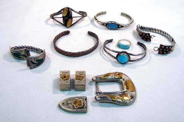 Collection Navajo Jewelry including Ranger Buckle Set