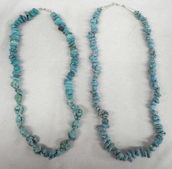Pr Navajo Turquoise Nugget Necklaces