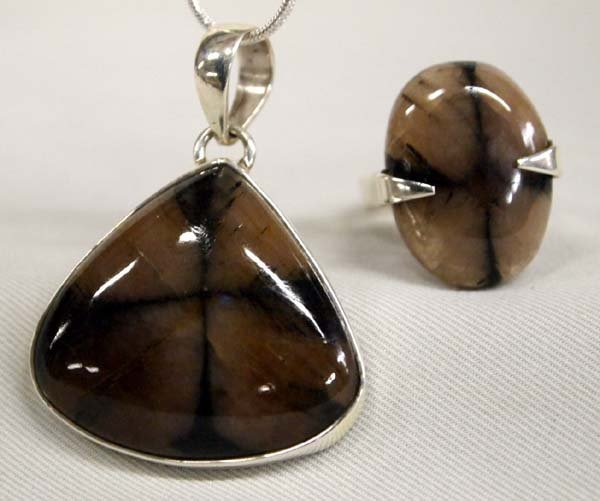 Sterling Silver Chiastolite  Ring and Pendant Set