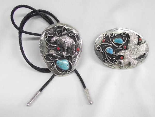 Western Turquoise Coral Cabochon Bolo Tie and Buckle