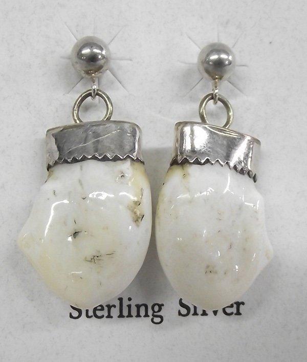 Sterling Silver Elk  Ivory Teeth Pierced  Earrings