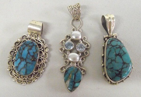 3 Sterling Silver Turquoise Pendants