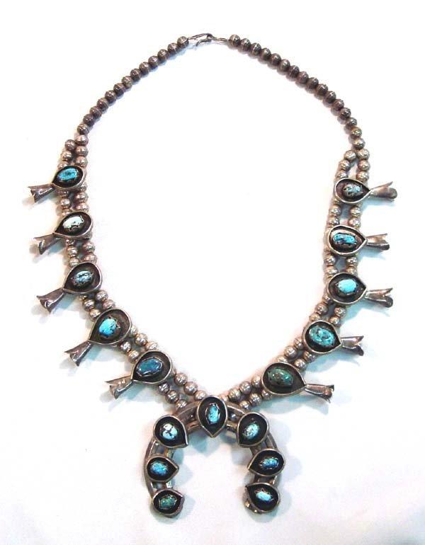 1960  Navajo Sterling Squash Blossom Necklace