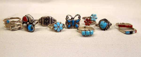 10 Silver Turquoise Coral Native American Rings