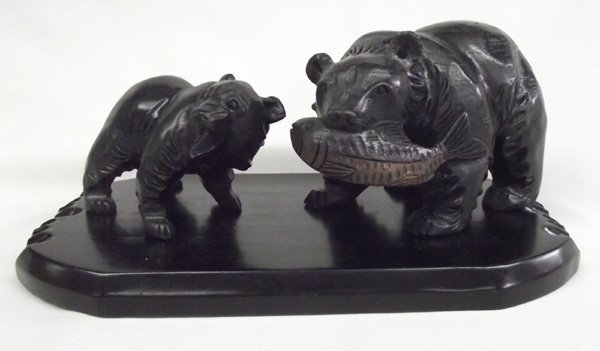 Hand Carved Wooden  Bear Sculptures on Stand