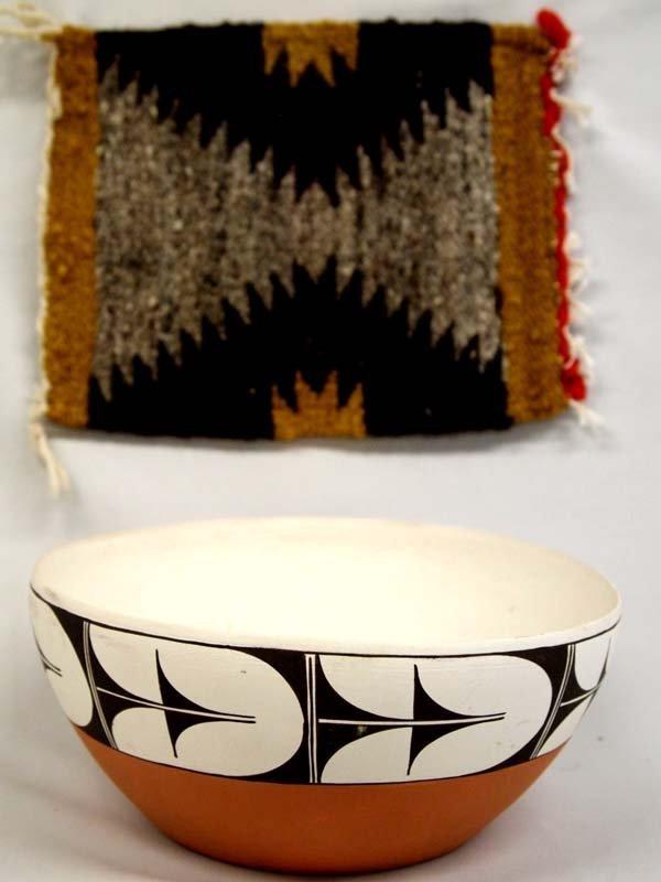 Isleta Pottery Bowl and Navajo Rug Sampler