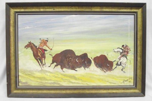 Framed Oil of Buffalo Hunt - Cree Artist H Beaudry