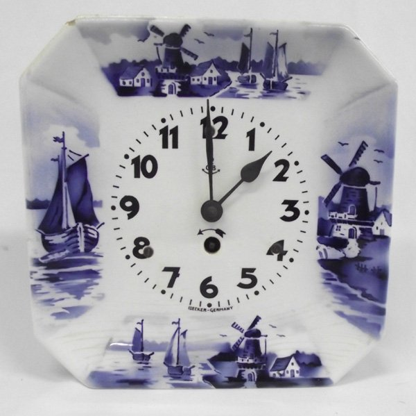 Gustav Becker German Delft Blue Wall Clock