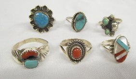Six Navajo Zuni Silver Rings Turquoise Coral Shell