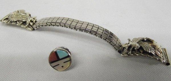 Navajo Eagle Watch Band, Zuni Inlay Sun Face Pin