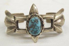 1960 Navajo Silver Tufa Turquoise Stone Bracelet