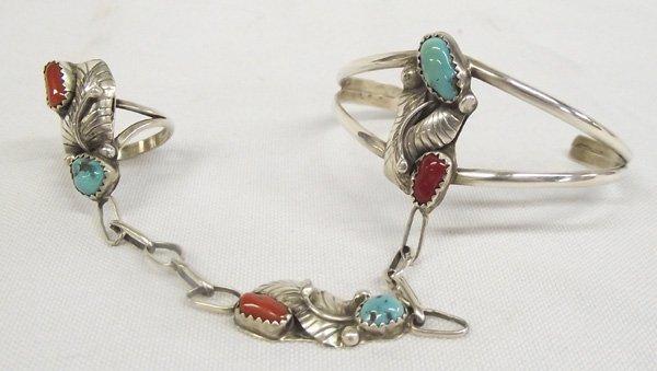 1980 Navajo Silver Turquoise Coral Slave Bracelet
