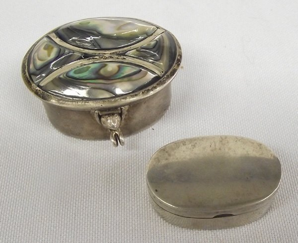 Two Taxco Mexico Sterling & Abalone  Boxes