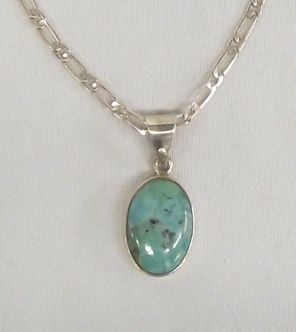 Navajo Sterling Turquoise Pendant on Silver Chain