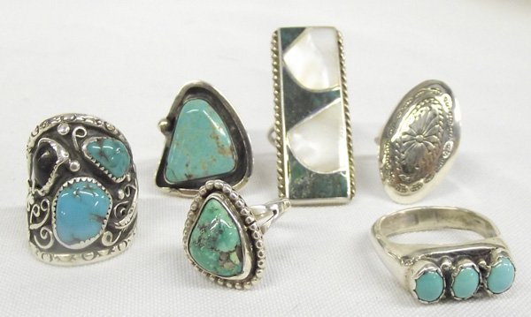 Six Navajo Silver Turquoise, Mother of Pearl Rings