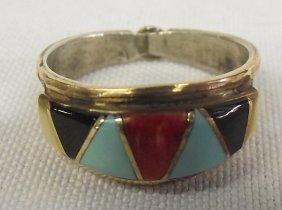 Zuni Channel Inlay Multi-Stone Hallmarked Ring