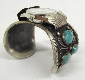 Navajo Old Pawn Watch Band, Sterling & Turquoise