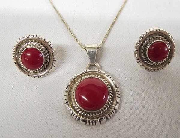 Navajo Pair of Earrings and Pendant Necklace