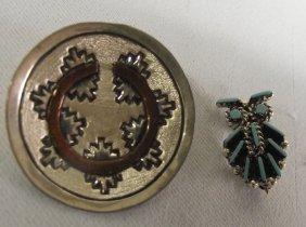 Two Pin/Pendants, Navajo & Hopi, Sterling Silver