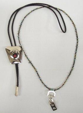 Bear Claw Bolo Tie & Heishi Necklace ID Holder
