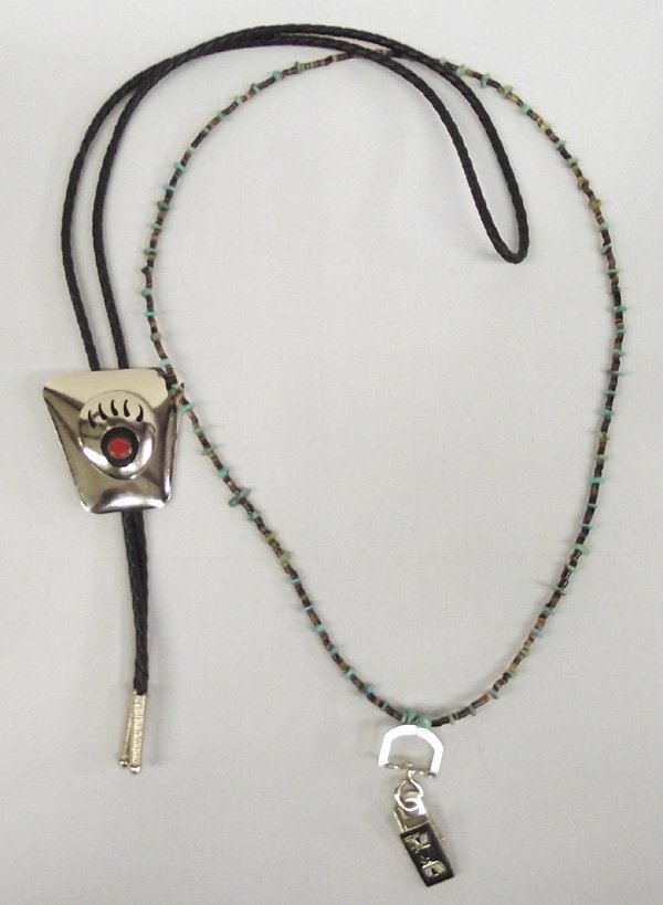 Bear Claw Bolo Tie & Heishi Necklace ID Holder