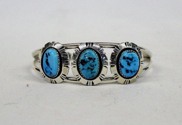 Navajo Sterling Turquoise Bracelet - Bruce Wood