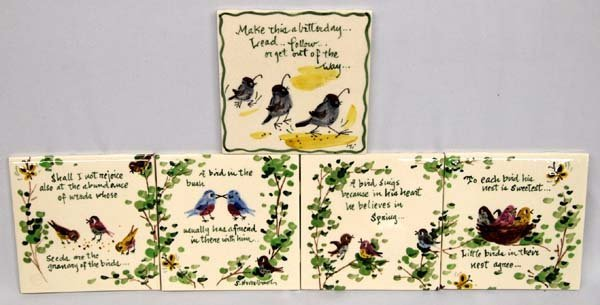 Five Painted Bird and Quotation Ceramic Tiles