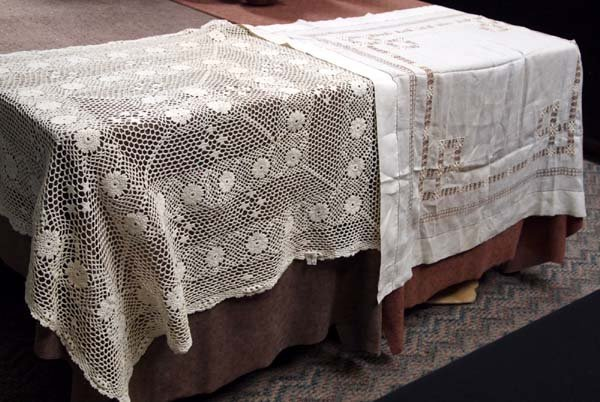 Pair of Crochet Table Covers