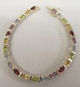 Estate Link Bracelet, Sterling Silver & Gemstones