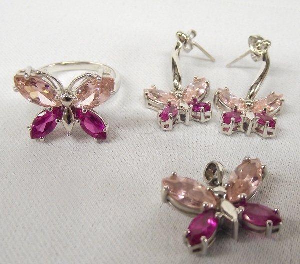 Estate Sterling Butterfly Ring, Pendant & Earrings