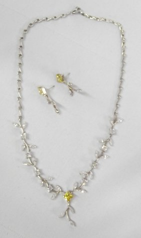 Estate Necklace & Earrings, Sterling & Citrine