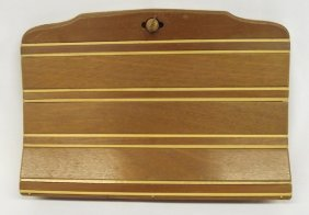 1940 Wooden Two Tone Marquetry Ladies Purse