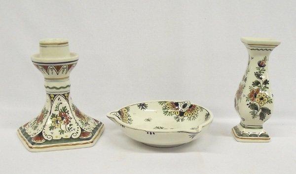 Delft Colored Porcelain Candlestick - Vase - Bowl