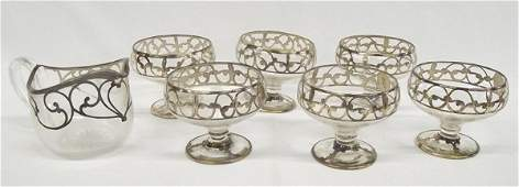 Early 1900 Sterling Glass Sherbet Set by Wallace