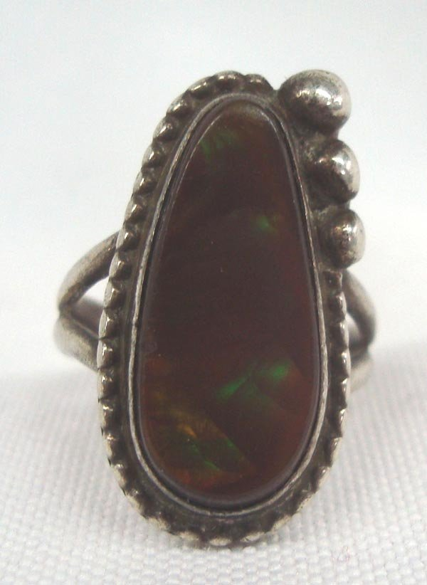 Mexican Sterling Silver Fire Agate Ring Sz 8