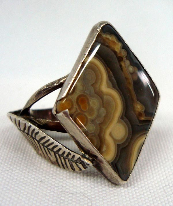 Vintage Mexican Sterling Picture Jasper Ring