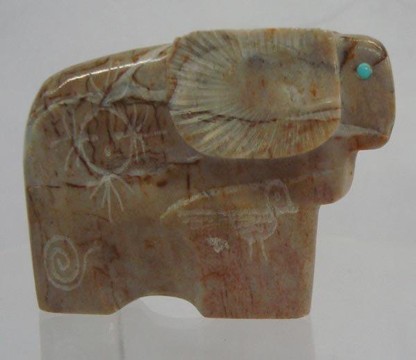 Zuni Quartz Ram Fetish with Petroglyphs - Mahkee