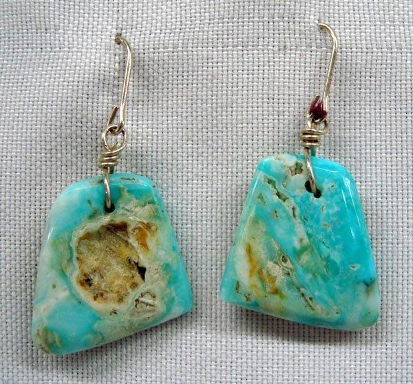 Navajo Natural Turquoise Slab Pierced Earrings
