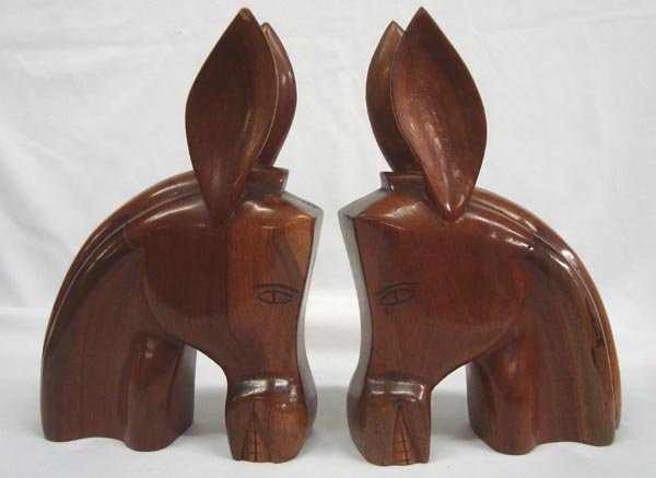 Pr 1950 Carved Wooden Long Eared Mule Bookends