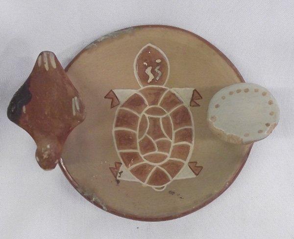 San Juan Pottery Turtle Pipe Holder Tray  - R Garcia