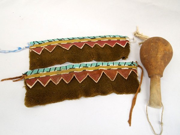 Hopi Gourd Dance Rattle and Leg/Arm Bands