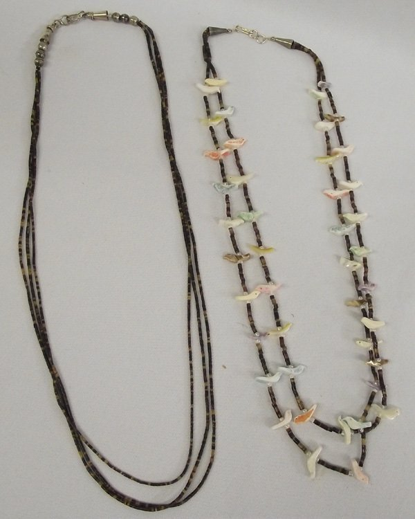 Bird Fetish and Pen Shell Heishi Necklaces