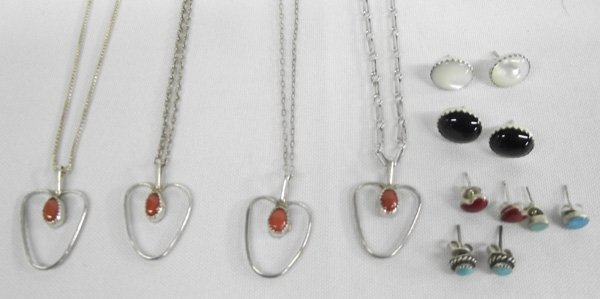 Silver Coral Necklaces and Earrings