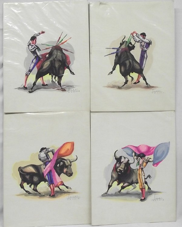 4 Mexican Watercolor Paintings Bullfighters