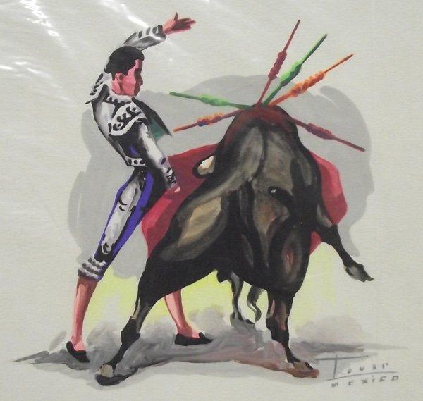 4 Mexican Watercolor Paintings Bullfighters - 2