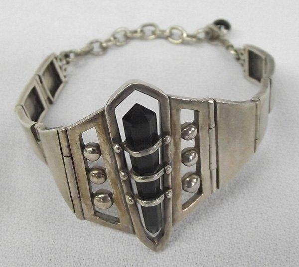 Onyx Crystal in Sterling Link Bracelet